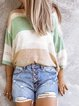 Light Green Submarine Color-Block Casual Round Neck Shirts & Tops