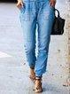 Blue Cotton Casual Drawstring Patchwork Pants