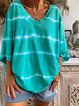 Green V Neck Cotton Casual Ombre/tie-Dye T-Shirts