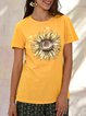 Yellow Shift Printed Simple  Basic Floral  Top