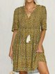 Yellow Holiday Printed V Neck Dresses