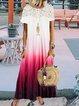 Vintage Short Sleeve Statement Ombre Lace Crew Neck Plus Size Casual Dresses