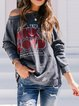 Deep Gray Casual Cotton-Blend Round Neck Printed Shirts & Tops