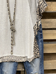Gray Leopard V Neck Short Sleeve Shirts & Tops