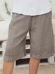 Solid Pockets Shorts Women Buttoned Pants