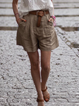 Plus size Casual Solid Shorts