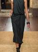 Plus Size Casual Sleeveless Casual Plain Dresses