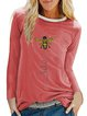 Casual Cotton-Blend Long Sleeve Letter Shirts & Tops