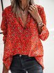 Red Shirt Collar Casual Long Sleeve Shirts & Tops