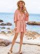 Pink V Neck Half Sleeve Solid Dresses