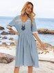 Blue Short Sleeve V Neck Dresses