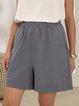 Gray Pockets Solid Casual Shift Pant