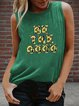 Vintage Sleeveless Floral Letter Printed Crew Neck Plus Size Casual Vest Tops