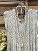 Blue Sleeveless Crew Neck Cotton-Blend Dress