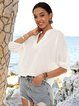 White Half Sleeve Holiday Plain Shirts & Tops