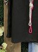 Black Cotton-Blend Casual Crew Neck Shirt & Top