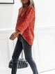 Red Shirt Collar Casual Long Sleeve Shirts & Tops