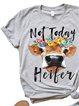 Casual loose summer ox head letter pattern printed short sleeve round neck T-shirt
