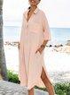 Pink Shift Shawl Collar Casual Paneled Dresses