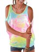 Vintage Short Sleeve Statement Tie-dyed Crew neck Plus Size Casual Tops
