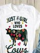 Casual plus size loose summer cow flower pattern printed short sleeve round neck T-shirt