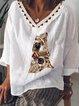 Casual V Neck Printed Shirts & Tops