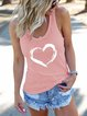 Vintage Sleeveless Love Printed Crew Neck Plus Size Casual Vest Tops