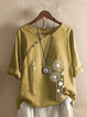 Casual Shift Cotton-Blend 3/4 Sleeve Shirts & Tops