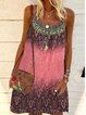 Casual Cotton-Blend Printed Dresses