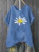 Cotton-Blend Vintage Printed Shirts & Tops