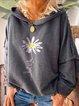 Gray Casual Long Sleeve Cotton-Blend Patchwork Sweatshirt