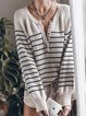 Apricot Long Sleeve Casual Knitted Color-Block Sweater