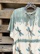 Blue Batwing Cotton-Blend Shirt & Top