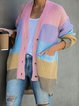 Multicolor Round Neck Knitted Long Sleeve Color-Block Outerwear