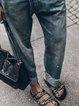 Black Blue Casual Denim Pants