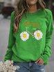 Cotton-Blend Long Sleeve Printed Shirts & Tops