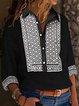Black 3/4 Sleeve Cotton-Blend Shirt Collar Printed Shirts & Tops