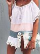 White Off Shoulder Casual Color-Block Shirts & Tops