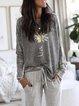 Gray Patchwork Long Sleeve Sweatshirt
