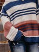 Multicolor Patchwork Color-Block Long Sleeve Sweater