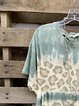 Blue Batwing Casual Cotton-Blend Shirt & Top