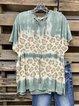 Blue Batwing Casual Cotton-Blend Shirt & Top