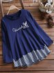 Vintage Long Sleeve Plaid Rabbit Letter Embroidered Crew Neck Casual Tops