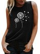 Vintage Sleeveless Dandelion Butterfly Printed Crew Neck Plus Size Casual Vest Tops
