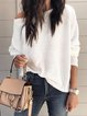 Knitted Plain Long Sleeve Off Shoulder Shirts & Tops