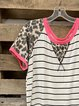 Leopard Print Short Sleeve Cotton-Blend Shirt & Top