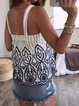 Vintage Sleeveless Boho Geometric Embroidered Square Neck Plus Size Casual Vest Tops
