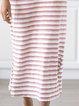 White Stripes Cotton-Blend Cold Shoulder Dresses