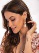 Beige Plain Alloy Casual Date Earrings