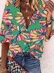 Vintage Half Sleeve Floral Printed V Neck Plus Size Casual Tops